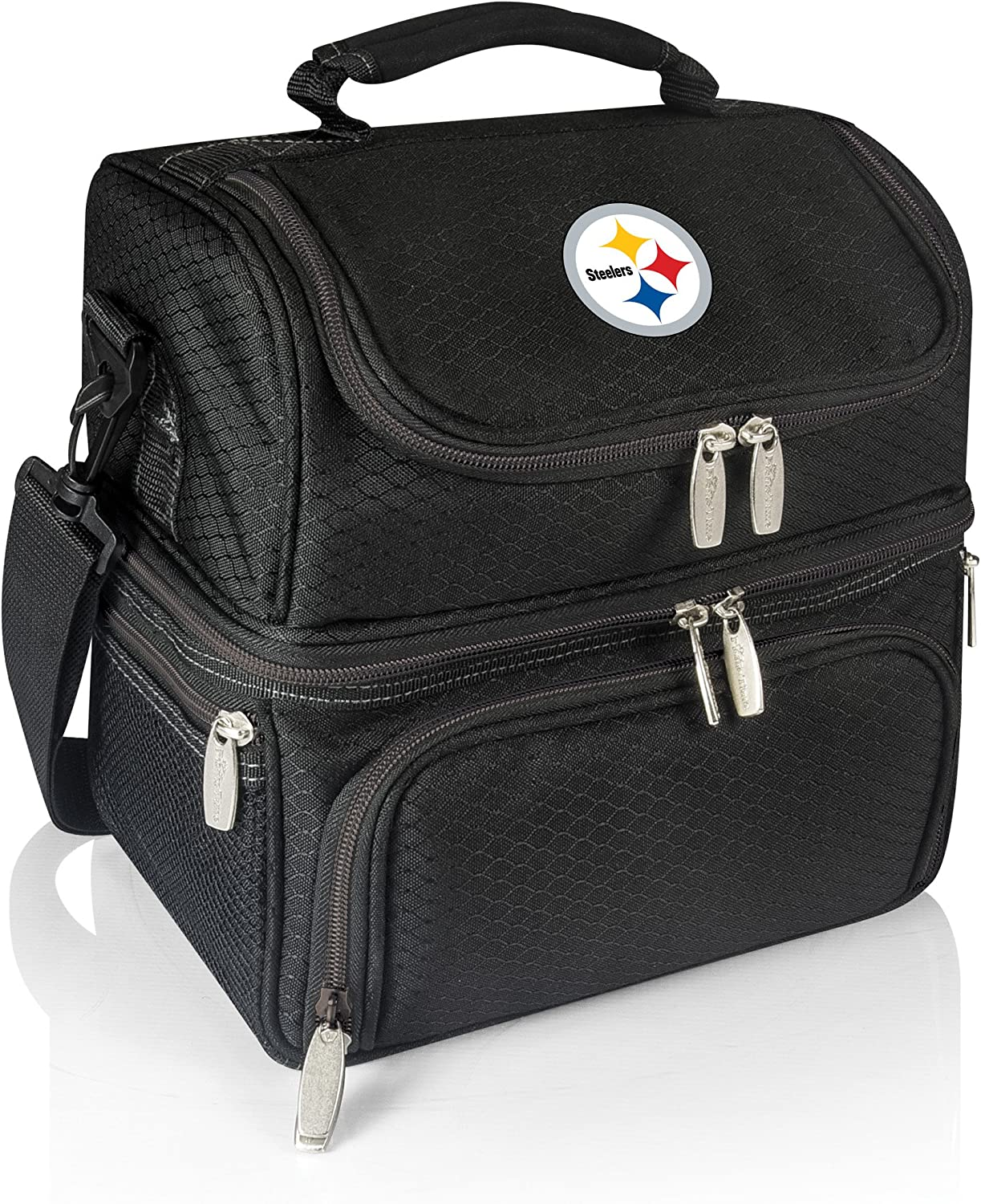 PICNIC TIME NFL Pittsburgh Steelers Pranzo Insulated Lunch Tote with Service for One, Black