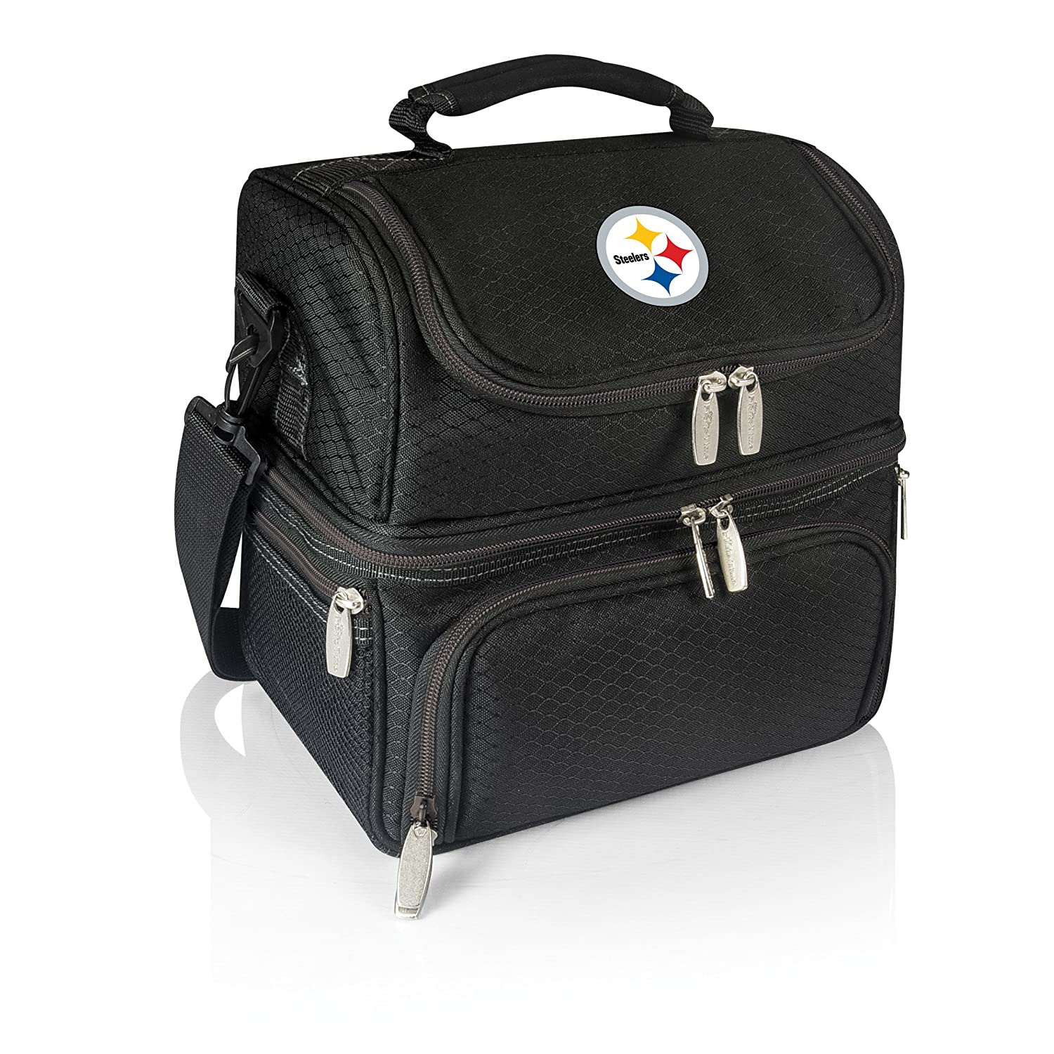 Black PICNIC TIME NFL Pittsburgh Steelers Pranzo Insulated Lunch Tote with Service for One