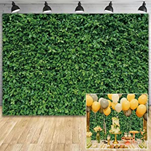 Demohome 7x5ft Durable Polyester Spring Fabric Greenery Leaves Grass Nature Photography Backdrop for Birthday Wedding Safari Dinosaur Baby Shower Party Decorations Background Portrait Photo Booth