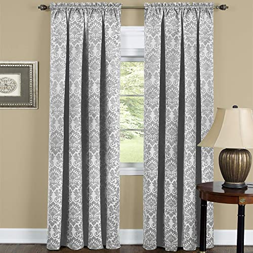 Achim Home Furnishings Halley Window in a Bag, 56 84-Inch, Taupe, -Rod Pocket Panel 52 x 84 , Grey White