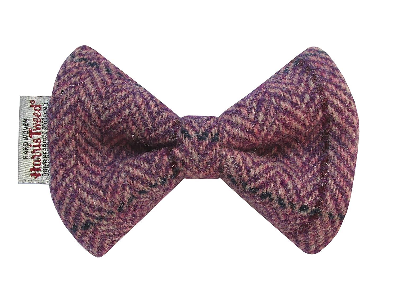 Harris Tweed Lilac Herringbone Designer Dog Collar Bow Tie