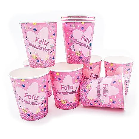 Vasos de fiesta feliz cumpleaños rosa: Amazon.es: Hogar