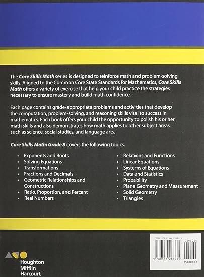 Steck-Vaughn Core Skills Mathematics: Workbook Grade 8: STECK ...