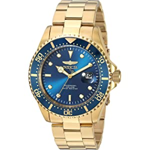 Invicta Mens Pro Diver Quartz Diving Watch with Stainless-Steel Strap, Gold, 22