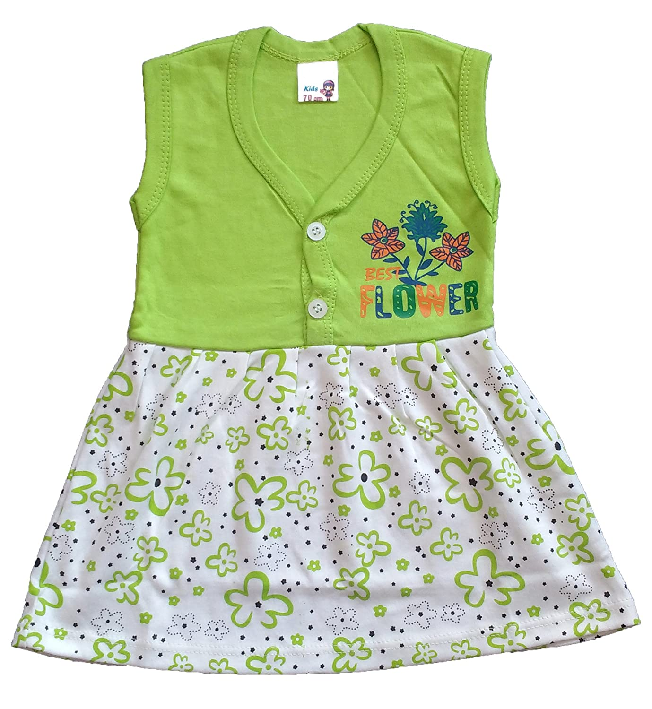 43e379f79d81 Utthraa Baby Girls Cotton Sleeveless Frock (Parrot Green