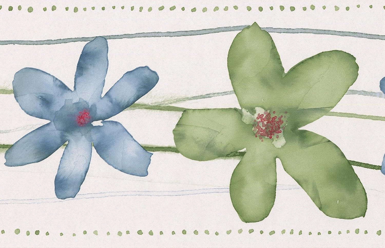 Blue Flower Border Wallpaper