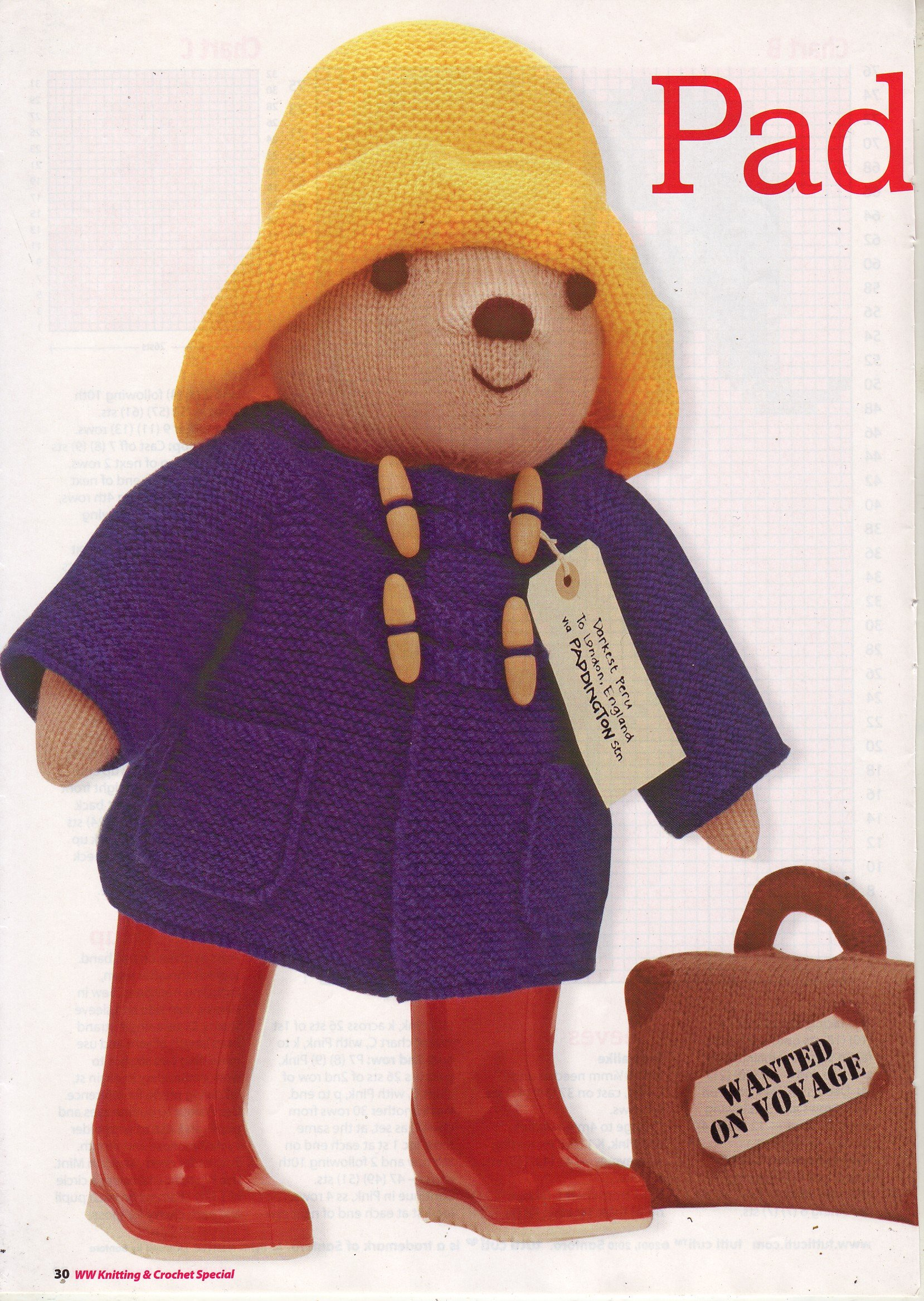 Paddington Bear By Alan Dart Toy Knitting Pattern Measurements 48cm