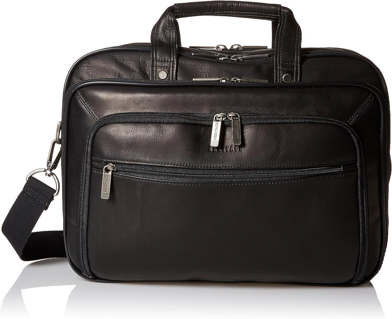 "Heritage Travelware Colombian Leather Dual Compartment Top Zip 15.6"" Laptop Portfolio, Black"