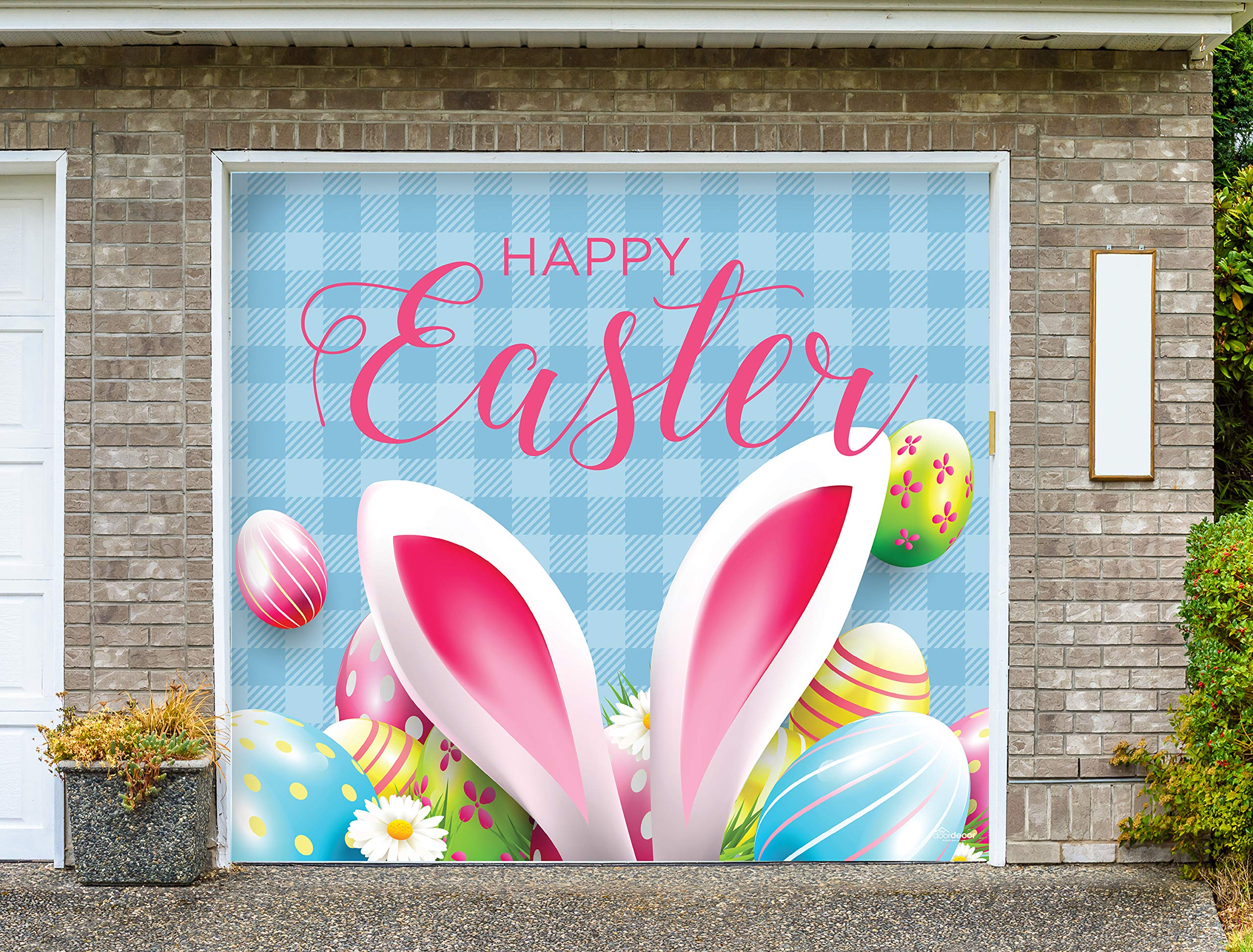 Victory Corps Happy Easter Bunny Ears - Holiday Garage Door Banner Mural Sign Décor 7'x 8' Car Garage - The Original Holiday Garage Door Banner Decor