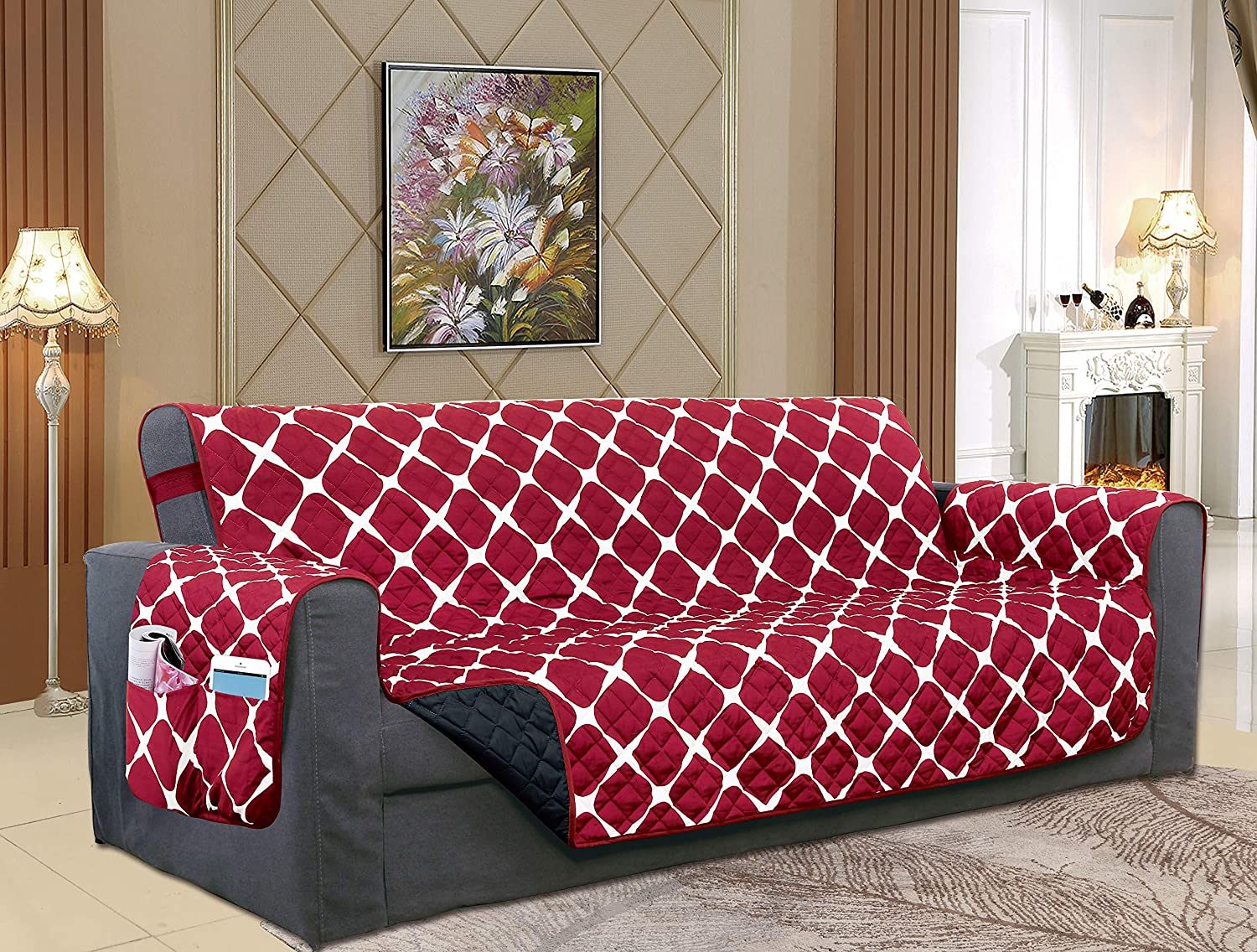 Elegant Comfort Luxury Bloomingdale Pattern Reversible 2-Tones Quilted Furniture Protector/Slipcover with Smart Pockets and Elastic Straps, Great for Pets and Kids