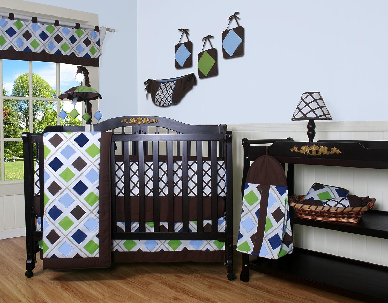 GEENNY 13 Piece Crib Bedding Set, Blue/Brown Diamond