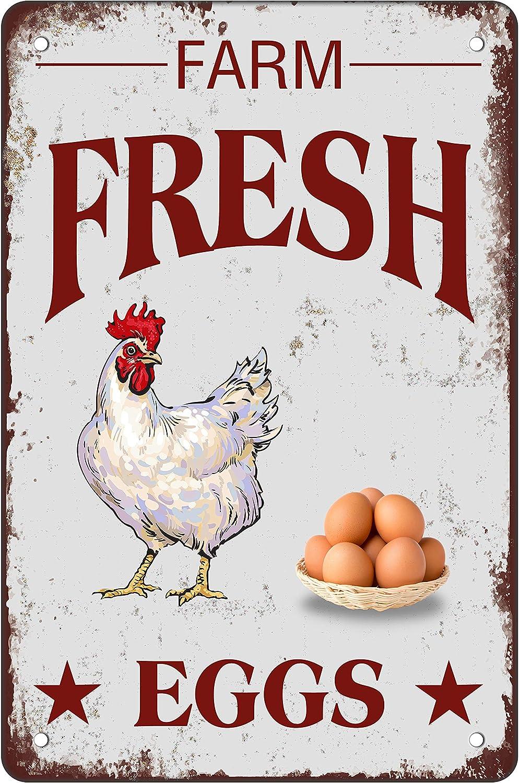 Asoodoo Retro Metal Tin Sign Vintage Farm Fresh Eggs Aluminum Sign for Hen House Home Wall Decor 8x12 Inch