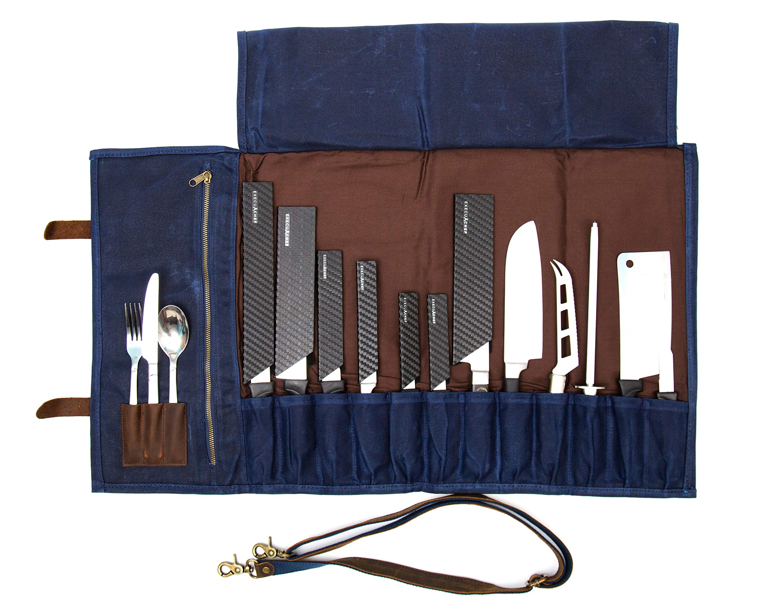 ExecuChef Waxed Canvas Knife Roll | 15 Knife Slots, Card Holder and a Large Zippered Pocket | Genuine Top Grain Leather, Cloth and Brass Buckles | For Professional Chefs and Culinary Students (Blue) by ExecuChef