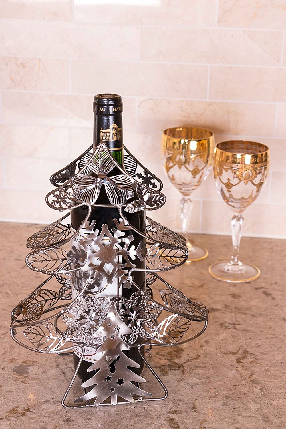 Stainless Steel Measures 10.5 x 8 x 4.25 Premium Metal Design Easily Fits Any Standard Wine Bottle Christmas Tree Wine Bottle Holder by Clever Creations Wide Stable Base