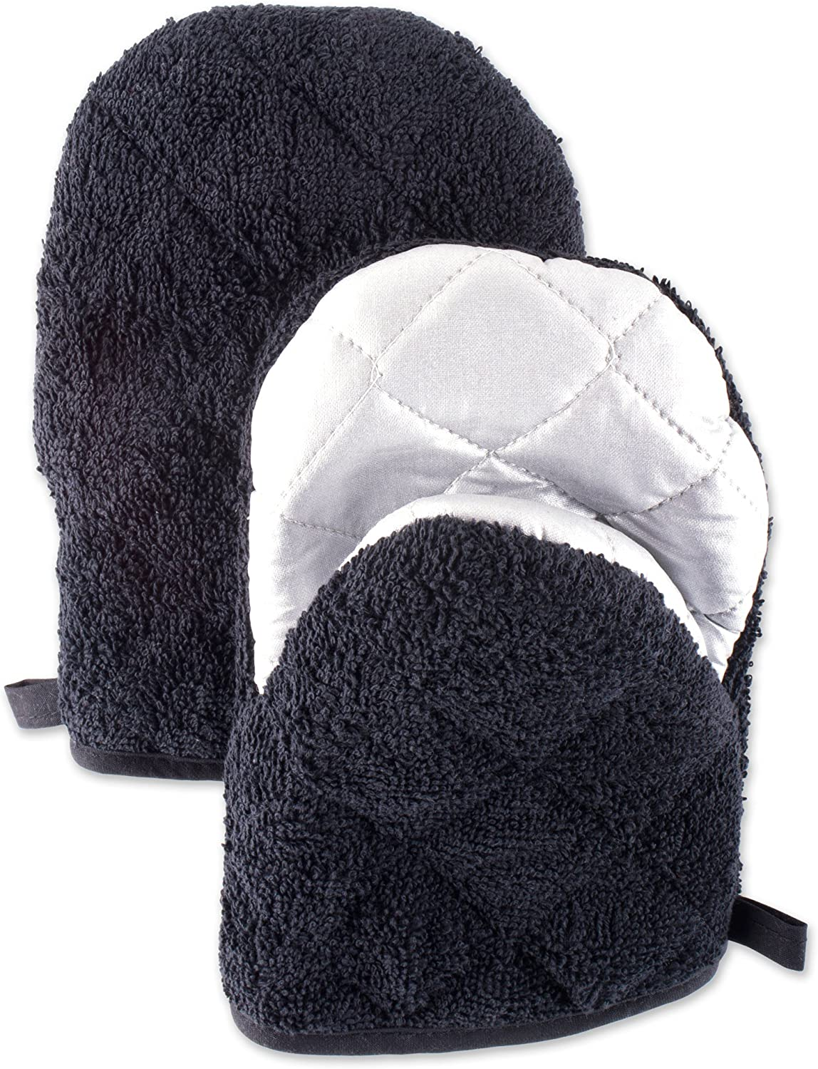 DII 100% Cotton, Quilted Terry Oven Set Machine Washable, Heat Resistant with Hanging Loop, Short Mitt, Black 2 Piece