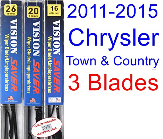 2011-2015 Chrysler Town & Country Replacement Wiper Blade Set/Kit (Set of 3 Blades) (Saver Automotive Products-Vision Saver) (2012,2013,2014)