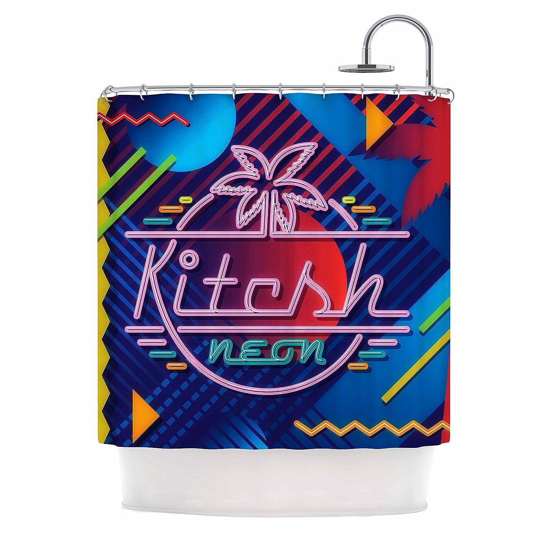 Kess InHouse Roberlan Kitsch Neon Blue Pink 69 x 70 Shower Curtain