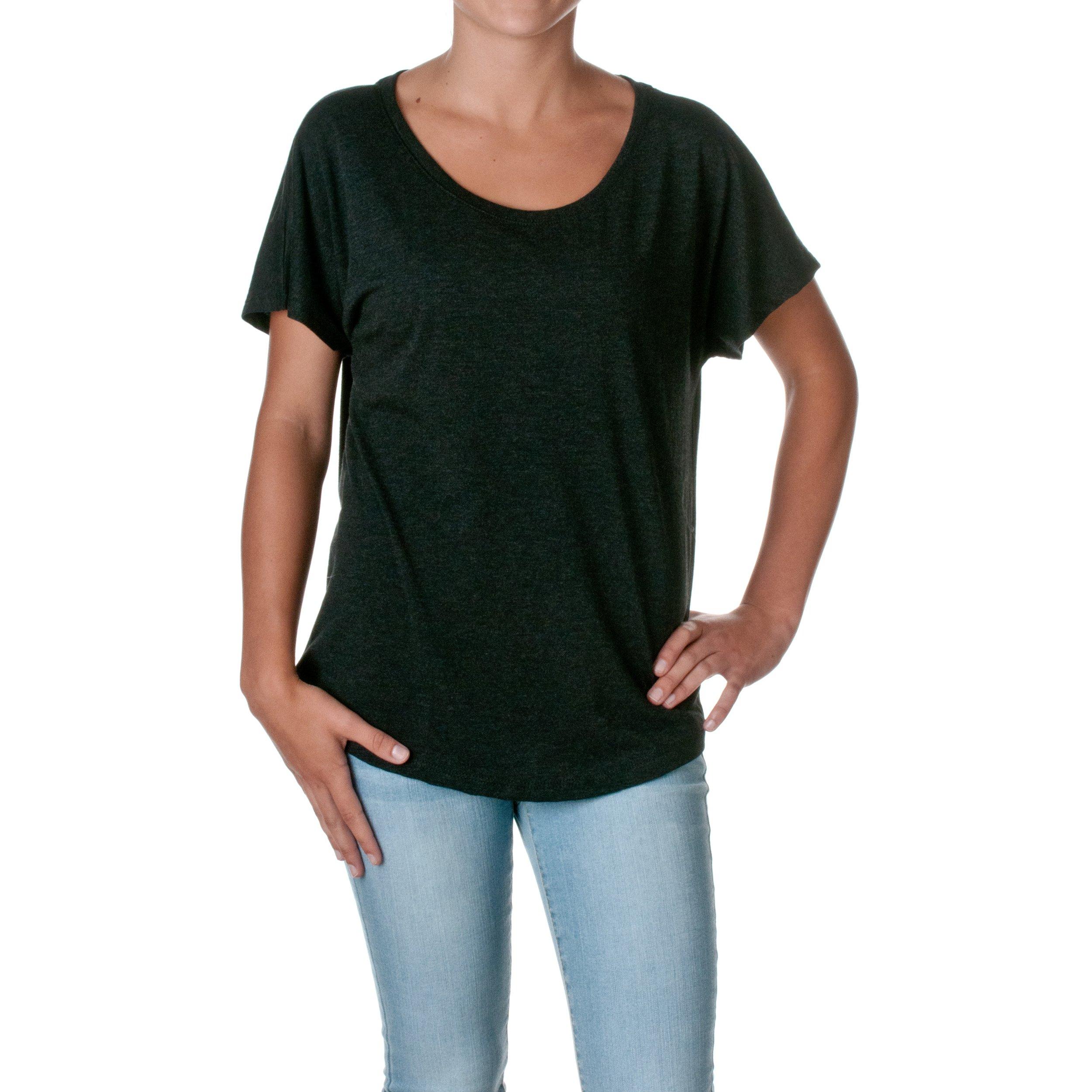 Next Level Apparel Women's Tri-Blend Dolman Top, Black Heather, XX-Large