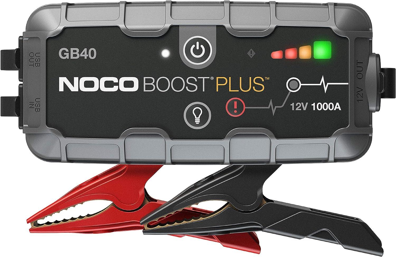 NOCO Boost Plus GB40 - Arrancador de Batería de Litio de Coche, 1000, Amperios, 12V, para hasta 6L de Gasolina y 3L Motores Diesel, Negro/ Gris