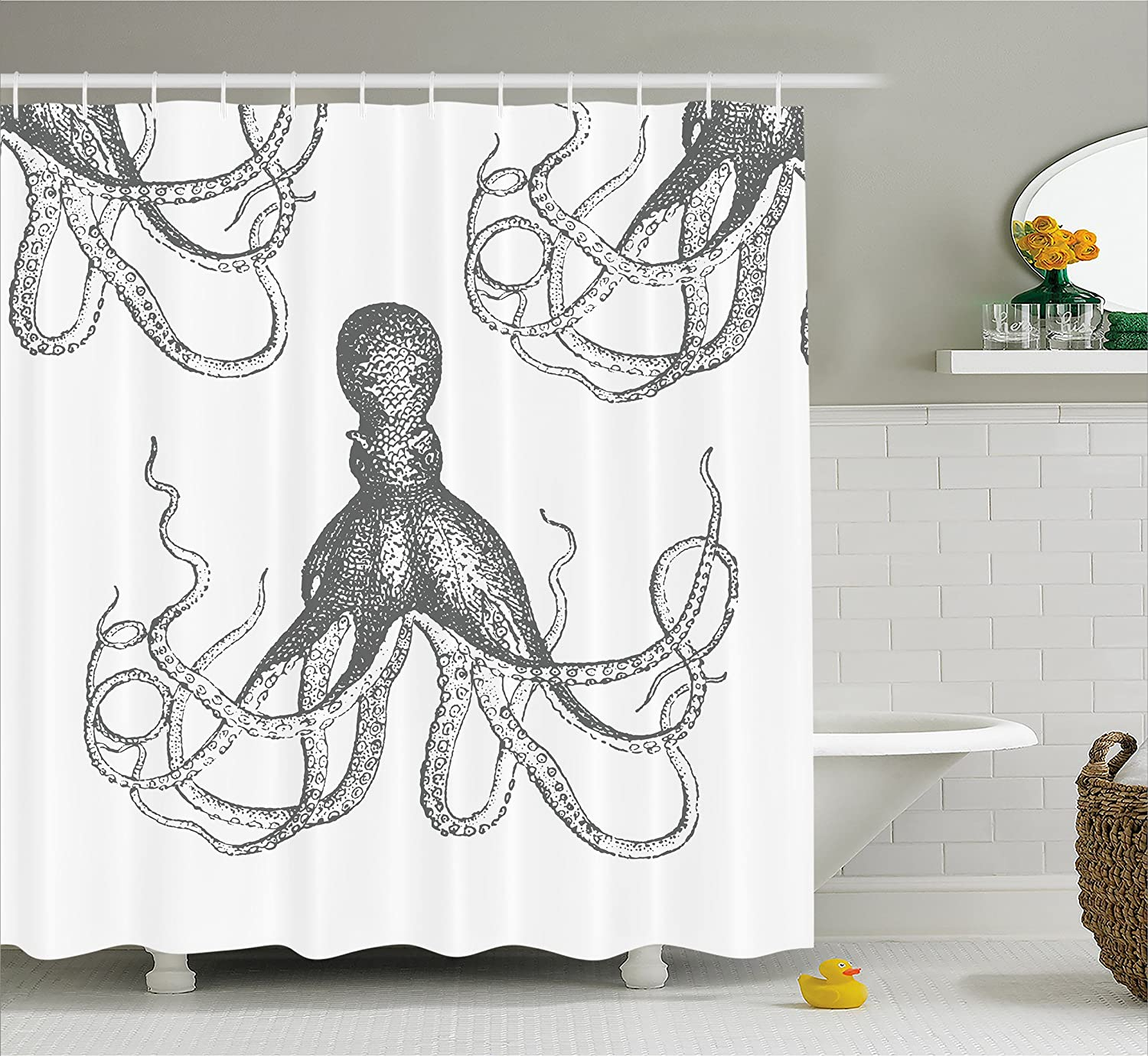 Kraken shower curtain - Amazon Com Kraken Decor Shower Curtain By Ambesonne Sea Creatures Giant Octopus With Swirl Legs Nautical Theme Art Design Modern Print Fabric Bathroom