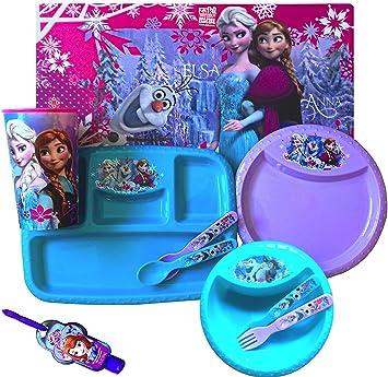 Disney Frozen 10 Piece Children\u0027s Complete Dinnerware Set Placemat Plate Utensils Sipper  sc 1 st  Amazon.com & Amazon.com: Disney Frozen 10 Piece Children\u0027s Complete Dinnerware ...