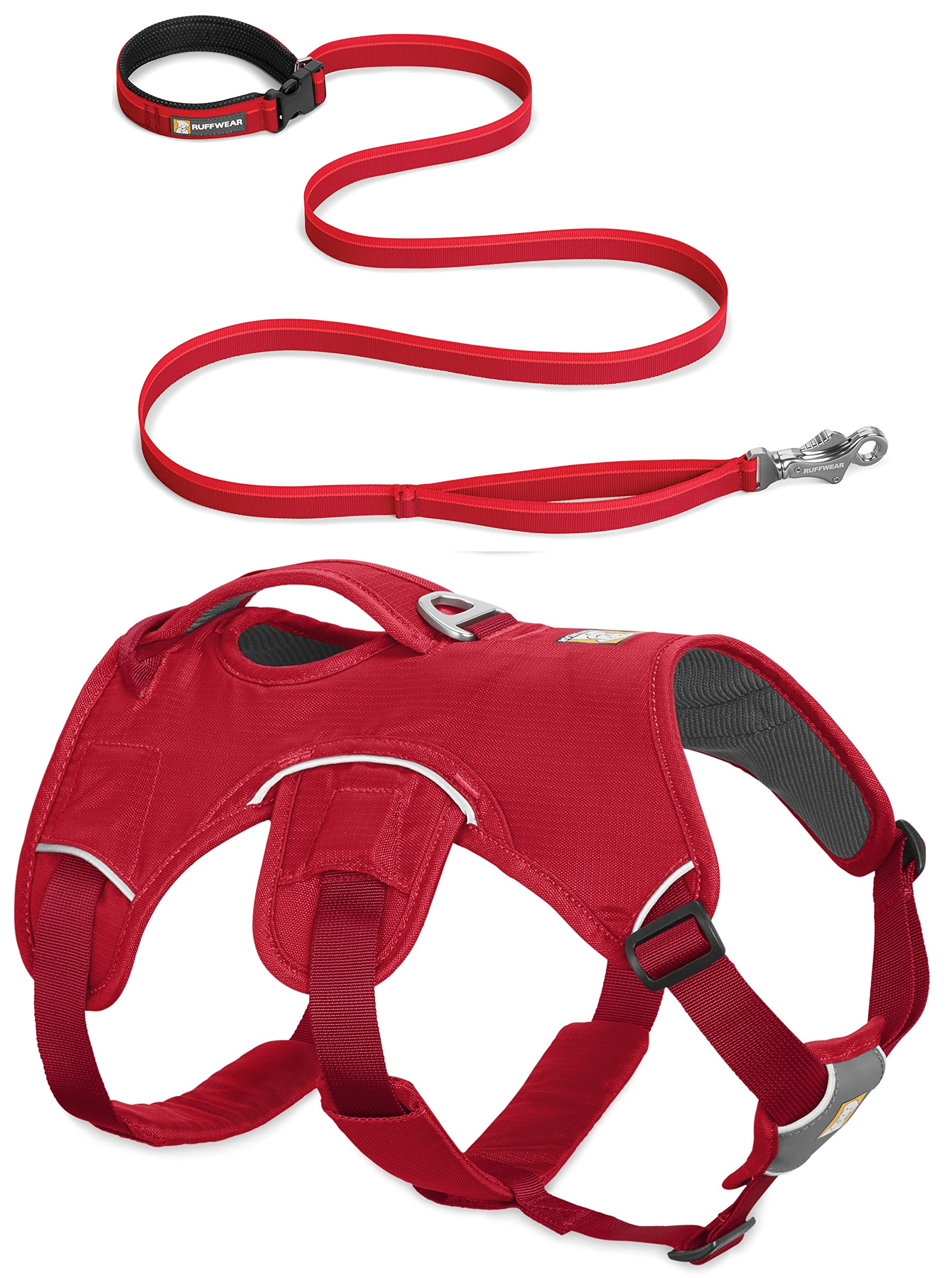 RUFFWEAR RED Web Master Dog Harness and Flat Out Leash Combo ♦ Secure Reflective Supportive Multi USE (Small)