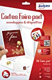 Avery 20 Cartes Faire-Part + 20 enveloppes + 21 Étiquettes adresses - A5 - Impression Jet d'Encre - Mat - Blanc (C2351)