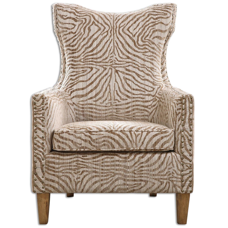 Amazon com zinc decor exotic animal print high back armchair seating chair kitchen dining