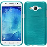 PhoneNatic Samsung Galaxy J5 (J500) blau Silikon Schutzhülle brushed mit 2x Schutzfolie