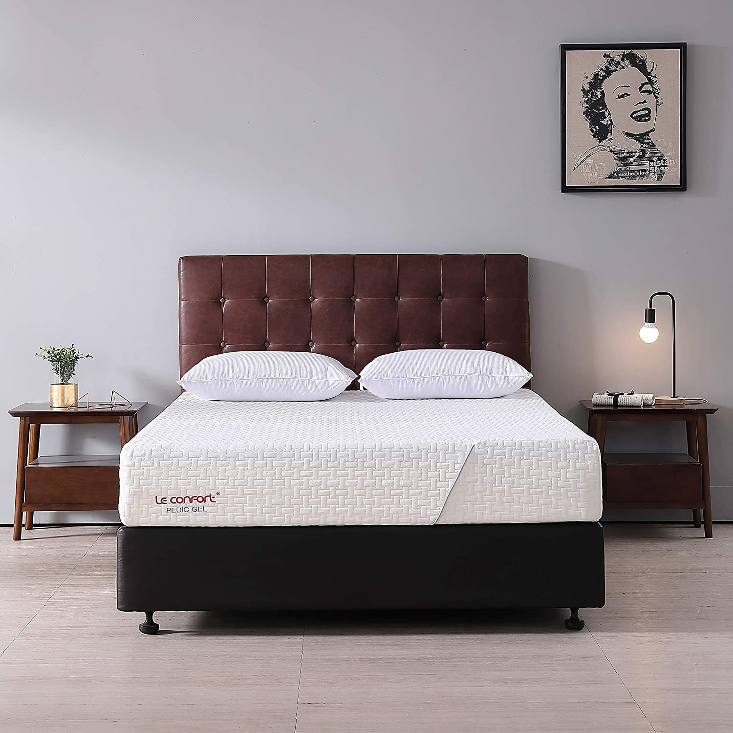 Le Confort 10 Inch Queen Cool Gel Memory Foam Mattress California Fire Resistant Queen Mattress in a Box