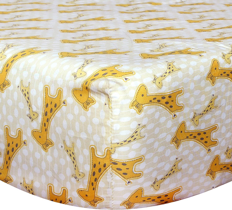 Cuddles & Cribs Organic Cotton Fitted Crib Sheet - Yellow, Giraffe