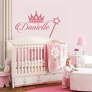 """Princess Decor - Personalized Name Princess Wall Decal - Nursery Baby Girl Decoration - Mural Wall Decal Sticker For Home Interior Decoration Car Laptop (M382) (Wide 30"""" x 17"""" Height)"""
