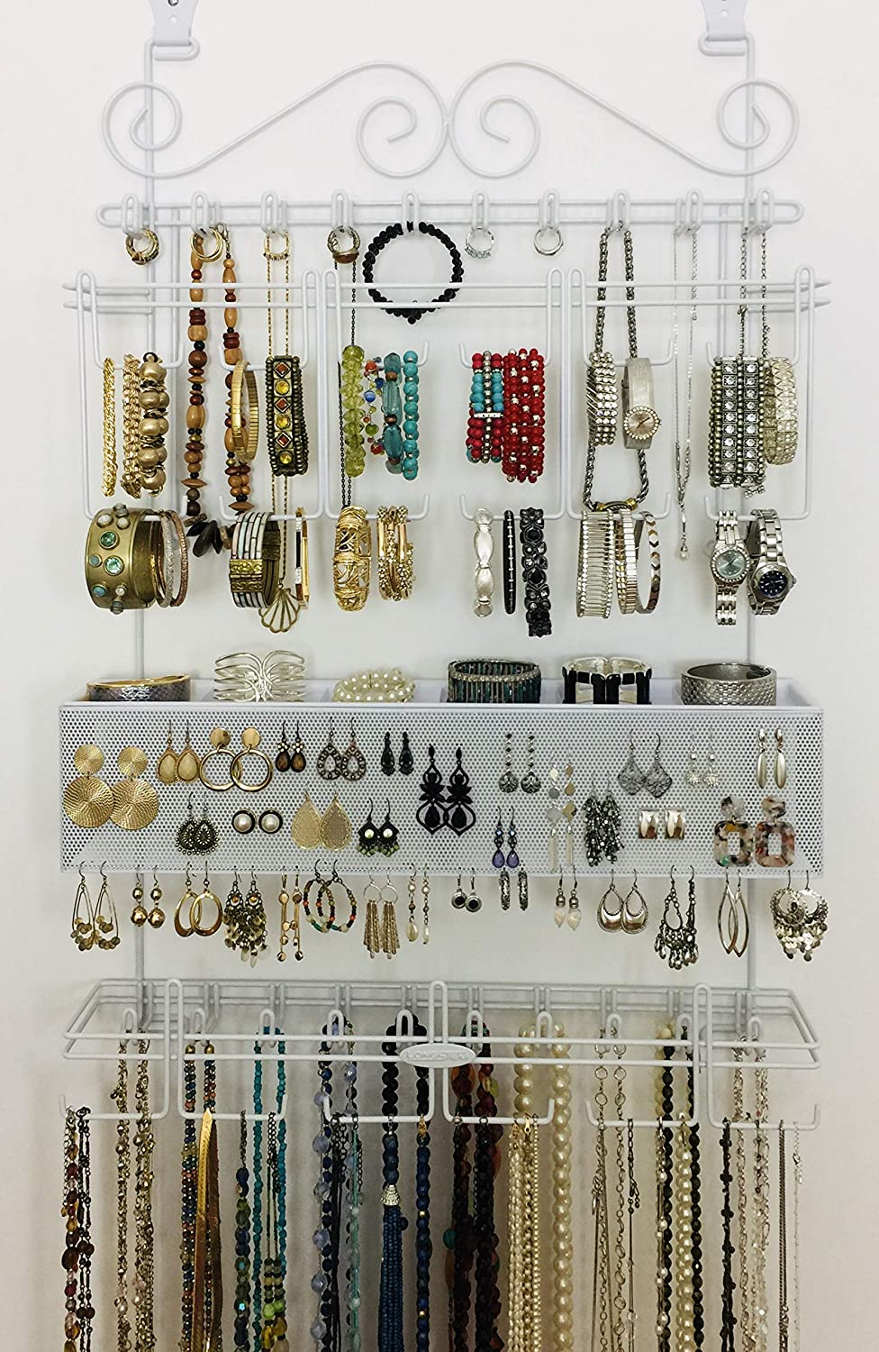 Longstem Organizers Over Door Wall Jewelry Organizer Rated Best Unique Patented Product White Amazon Ca Home Kitchen