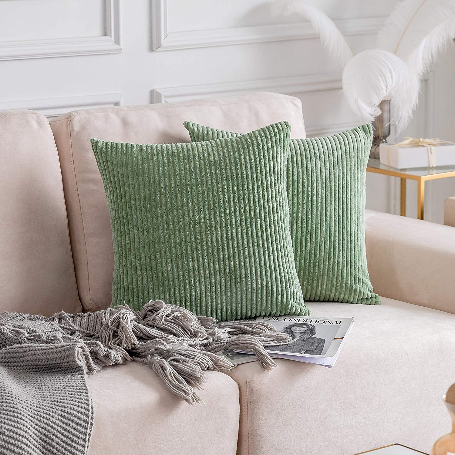 Home Brilliant Decor Solid Plush Corduroy Striped Square Throw Pillow Covers Cushion Covers Decorative for Living Room, Set of 2, 18x18 inches (45cm), Sage Green.