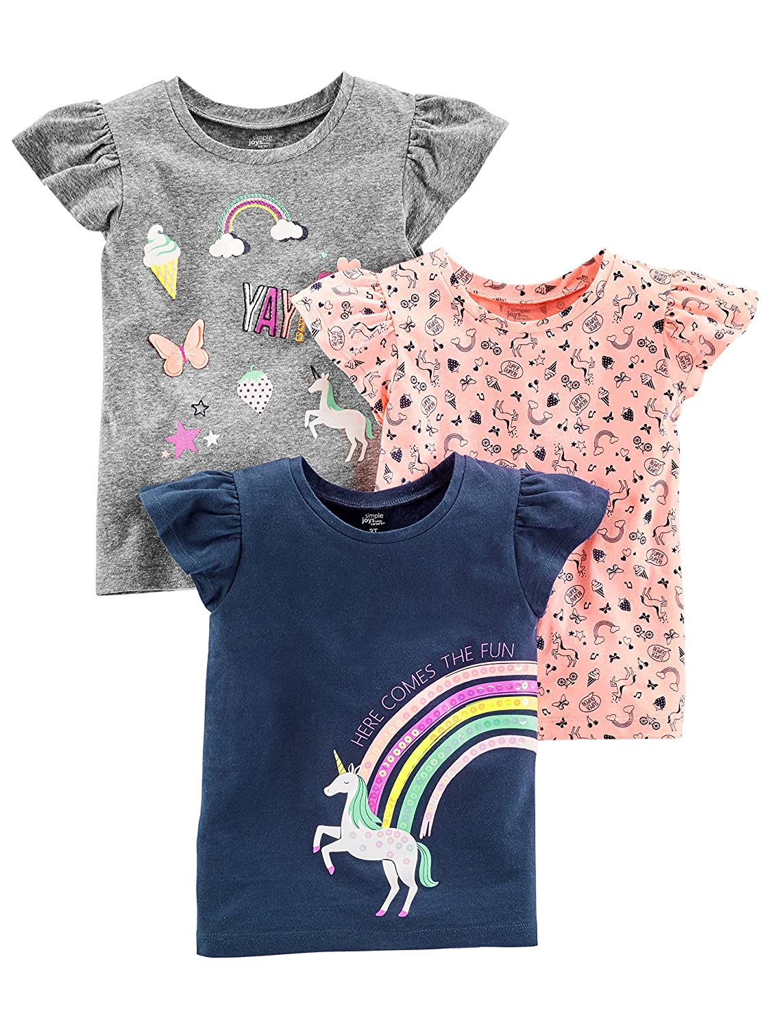Simple Joys by Carter's Girls' Toddler 3-Pack Graphic Tees