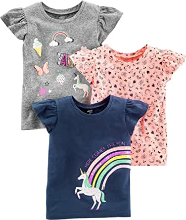 Simple Joys by Carter's Baby Girls' Toddler 3-Pack Graphic Tees