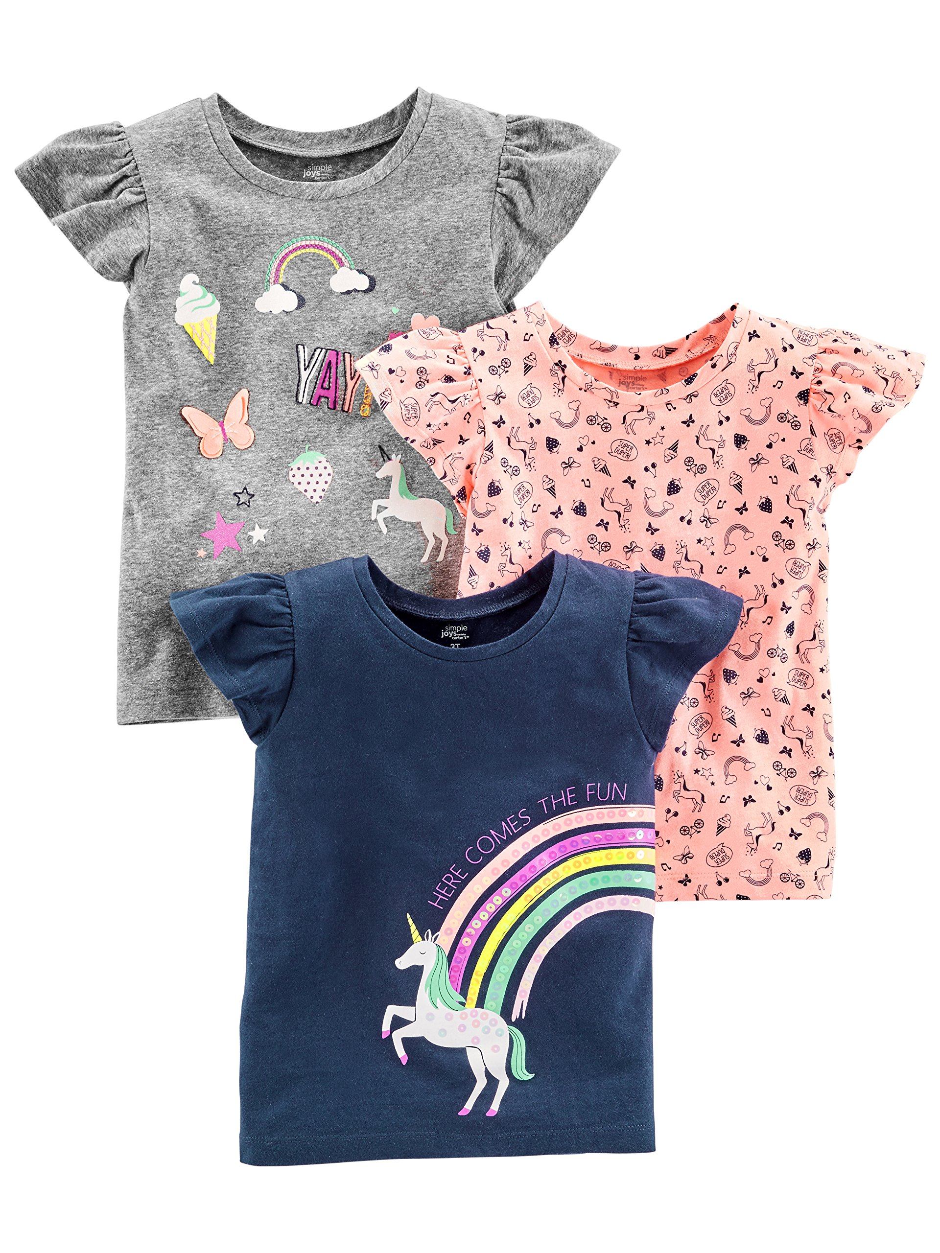 Simple Joys by Carter's Baby Girls' Toddler 3-Pack Graphic Tees, Gray, Pink, Navy Unicorn, 2T
