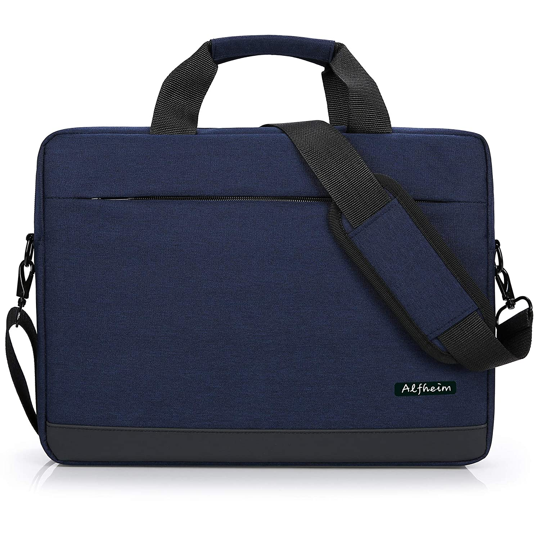 Alfheim Laptop Backpack for Men Women Fits 15.6 Inch Laptop,Briefcase Shoulder Messenger Bag,Waterproof&Multipurpose&Lightweight Notebook Bag for College School Work Commute Travel (Black)