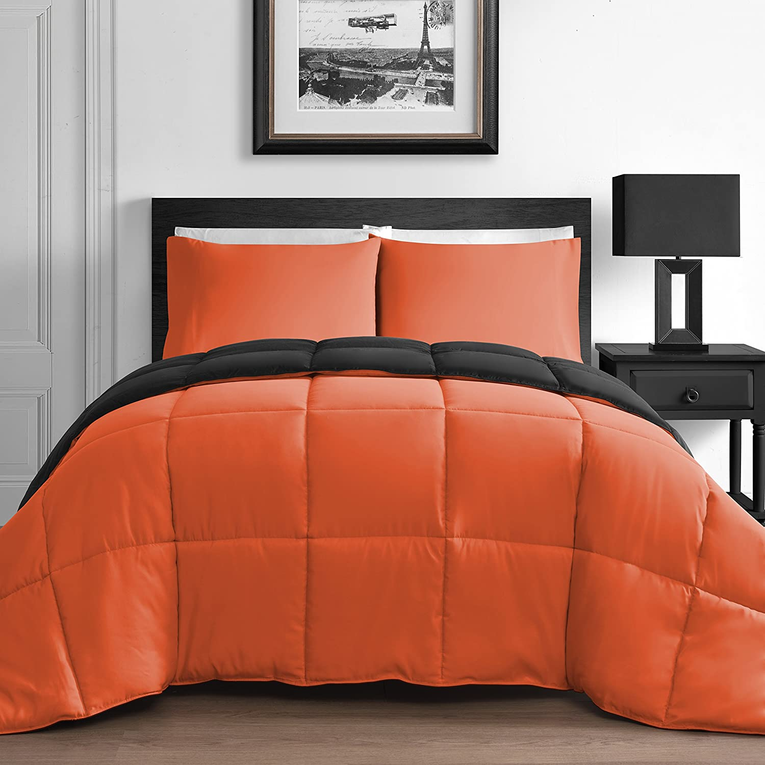 Brown and orange bedding - Modern 3 Piece King Queen Home Reversible Microfiber Comforter Set