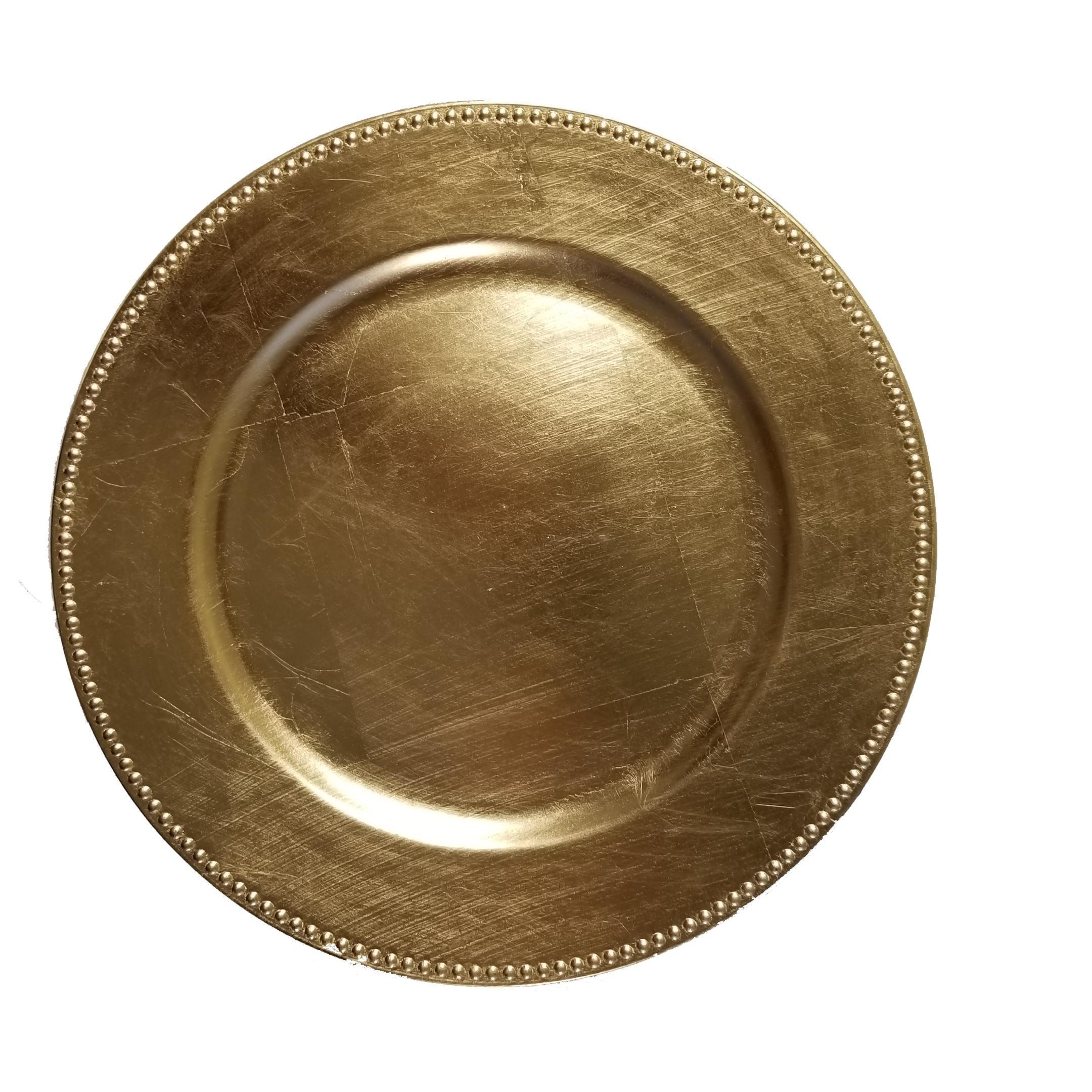 Benzara Elegant Polypropylene Charger Plate, Set Of 12, Gold
