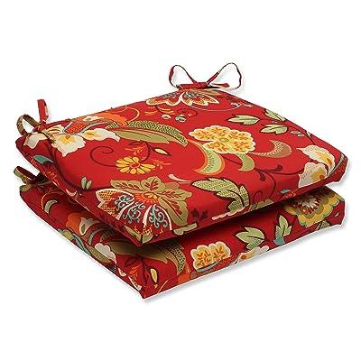 Pillow Perfect Outdoor Tamariu Alfresco Valencia Squared Corners Seat Cushion, Red, Set of 2: Home & Kitchen