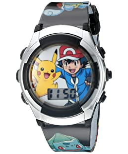 Pokémon Kids' Digital Quartz Watch with Plastic Strap, Black, 16 (Model: POK3018)