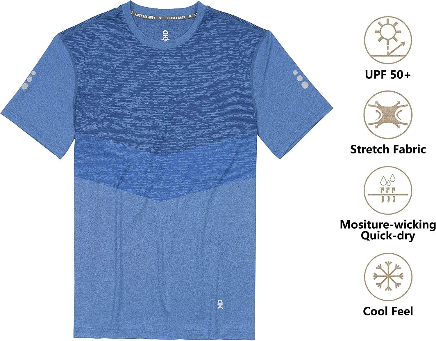 Little Donkey Andy Mens Quick Dry Sweat Wicking Stretch Short Sleeve T-Shirt UV Protection Workout Running Hiking Tee