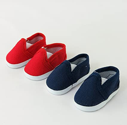 28d09d545ae1 Amazon.com: 2 pack of Canvas Slip-On Shoes: Red and Navy | Fits 14 ...