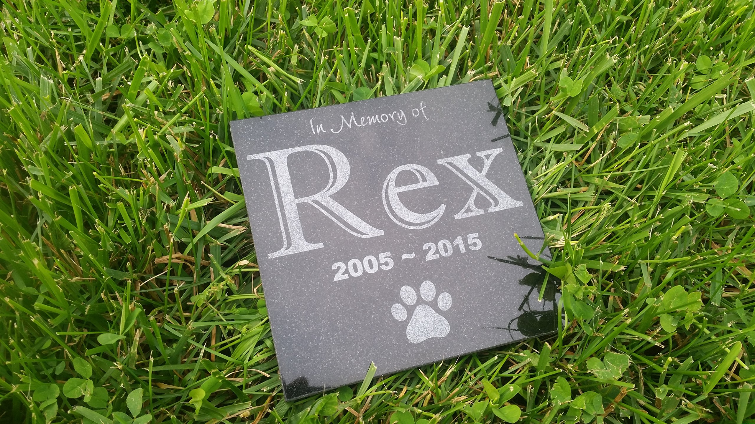 Personalised Pet Stone Memorial Marker Granite Name Marker Dog Cat Horse Bird Human 6'' X 6'' Custom Design Personalizd Akita Poodle Bulldog