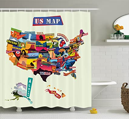 Amazon Ambesonne US Map Shower Curtain Set Wanderlust Decor Us