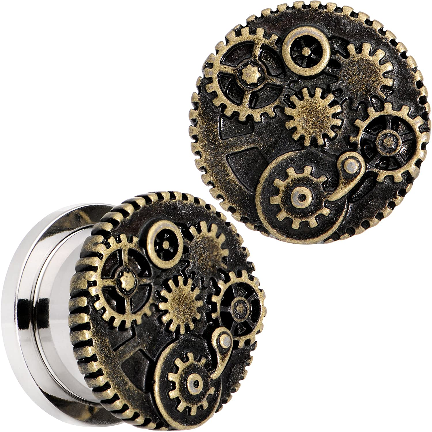 Body Candy Steel Steampunk Gears and Gizmos Screw Fit Tunnel Plug Set of 2 6mm to 25mm