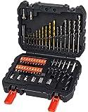 Black+Decker Bohrer-und Schrauberbit-Set 50-teilig (Metall-; Stein-und Holzbohrer, Schrauberbits, Stecknüsse) A7188