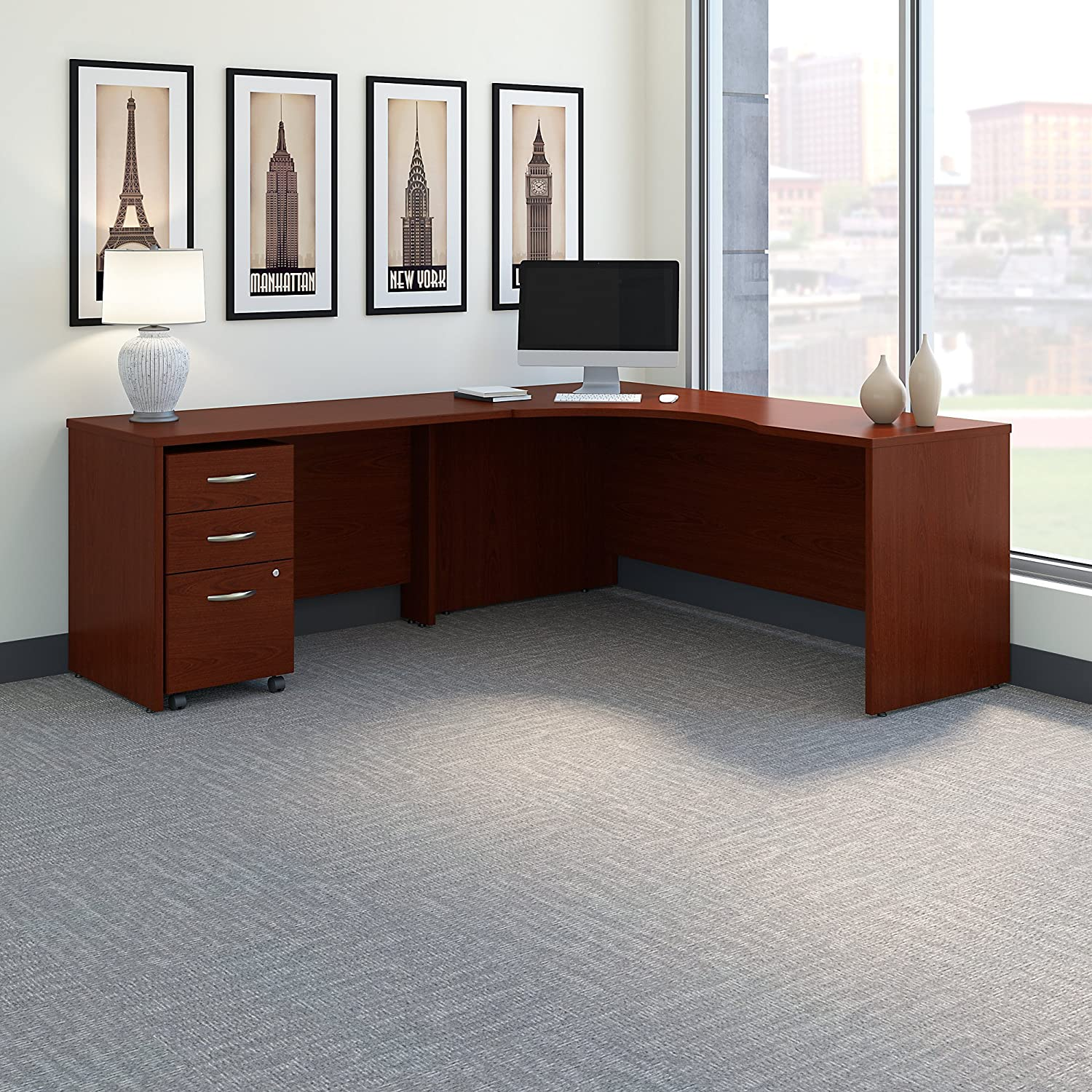 Bush Business Furniture Series C 72W Left Handed Corner Desk with 48W Return and Mobile File Cabinet in Mahogany