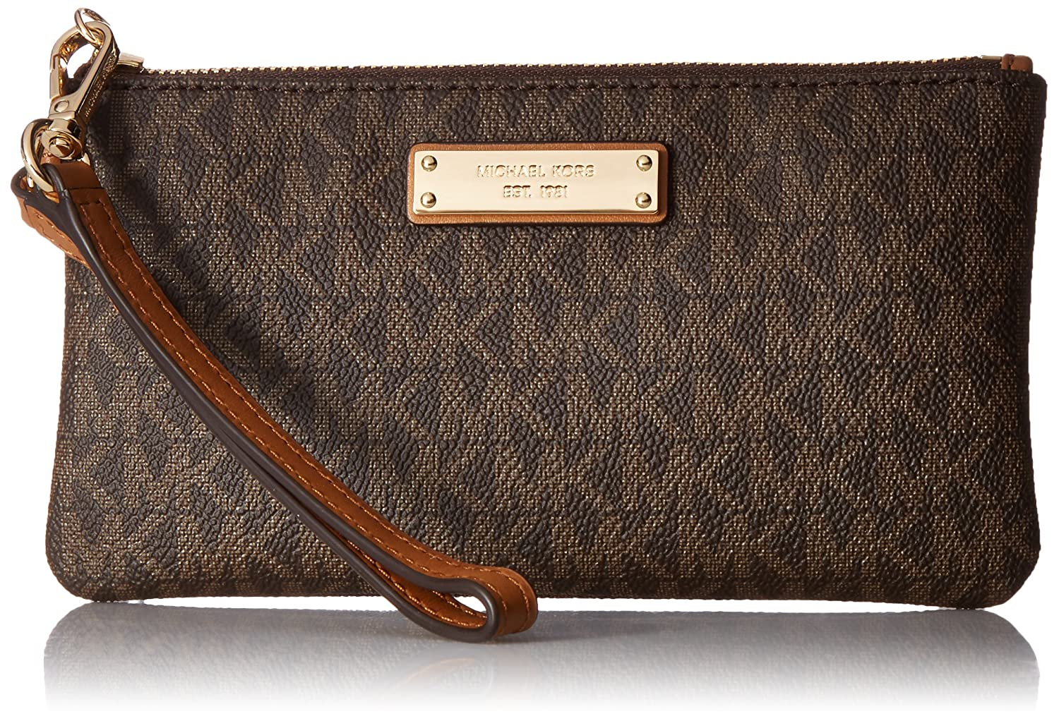 MICHAEL Michael Kors Signature Jet Set Item Medium Wristlet, Color 200 Brown w/Gold-tone Hardware